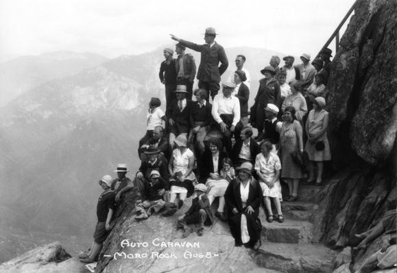 Park Superintendent and Tourists on Moro Rock, Sequoia National Park, 1930s | Ken Burns: The National Parks