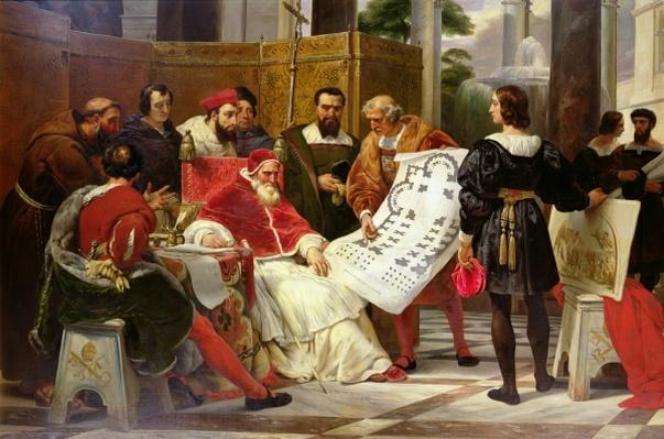 Pope Julius II ordering Bramante, Michelangelo and Raphael to construct the Vatican and St. Peter's, 1827