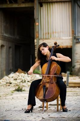 Woman with cello outdoors | Musical Instruments