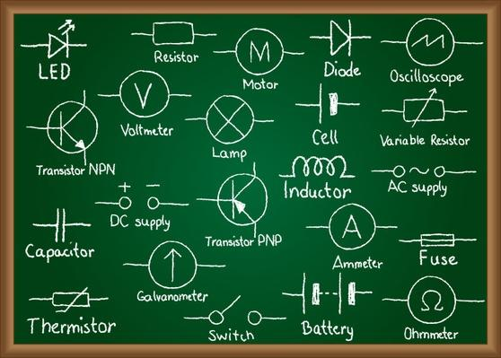 Electrical circuit symbols on chalkboard | Science and Technology