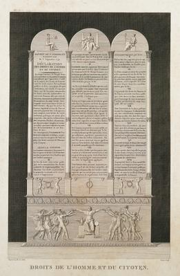 French Declaration of the Rights of Man and the Citizen, engraved by Jacques Louis Copia