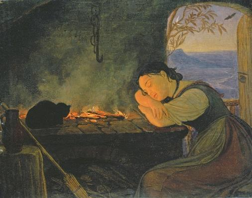 Girl Sleeping by the Fire, 1843