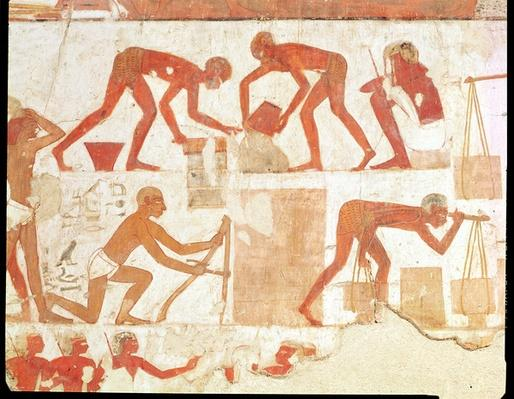 Construction of a wall, from the Tomb of Rekhmire, vizier of Tuthmosis III and Amenhotep II, New Kingdom