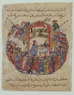 Ms c-23 f.165a A Doctor Performing a Bleeding in a Crowd of Curious People, from 'The Maqamat'