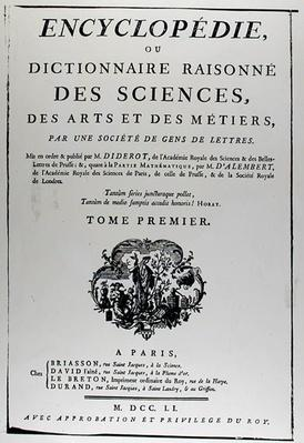 Frontispiece to 'The Encyclopedia of Science, Art and Engineering' by Denis Diderot
