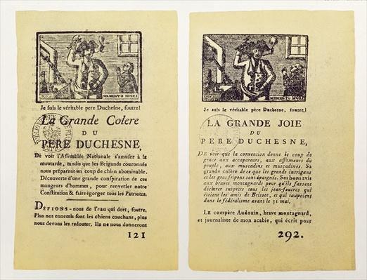 Two pages from 'La Grande Colere de Pere Duchesne', 1792