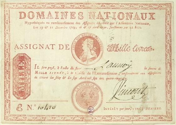 Thousand livre banknote with a picture of Louis XVI