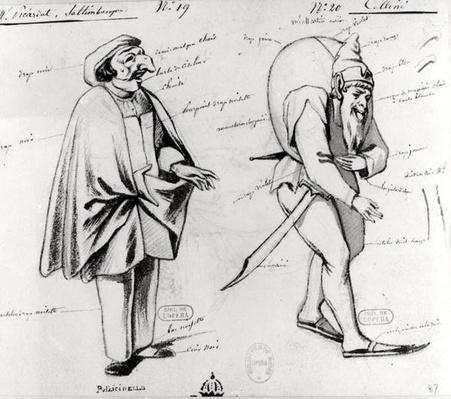 Costume design for two acrobats in 'Benvenuto Cellini' by Hector Berlioz
