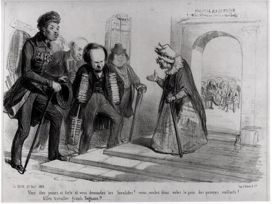 Dumas, Hugo et Balzac seeking their admission to the French Academy, illustration from 'La Mode', 23rd November 1839