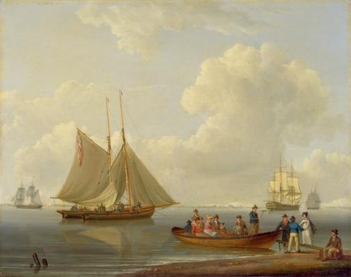 A Wherry Taking Passengers out to Two Anchored Packets, 1825