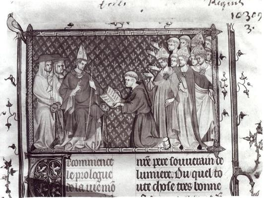 Ms.Fr. 5716 f.2 Jean d'Antioch before Martin IV, from 'Life and Miracles of St. Louis', c.1330-40