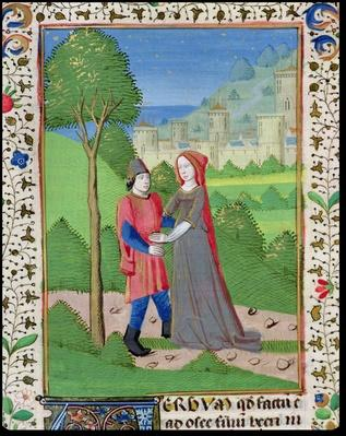 Ms. H7 fol.103v Hosea and the Prostitute, from the Bible of Jean XXII