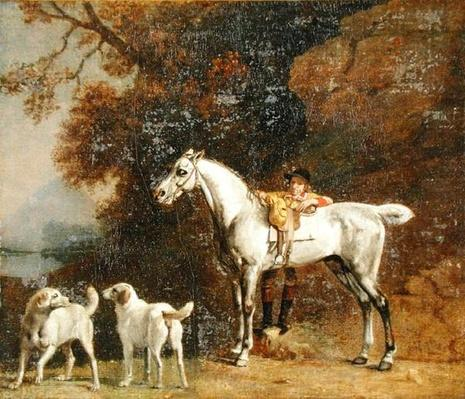 Huntsman with a Grey Hunter and Two Foxhounds: details from the Goodwood 'Hunting' picture, 1760-61
