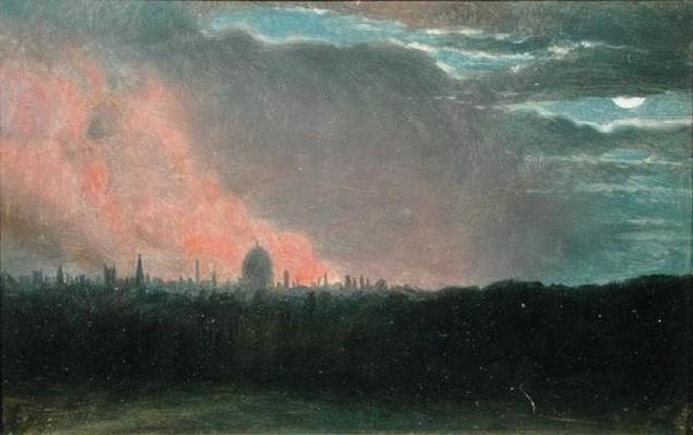 Fire in London seen from Hampstead