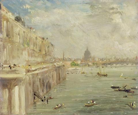 View of Somerset House Terrace and St. Paul's, from the North end of Waterloo Bridge