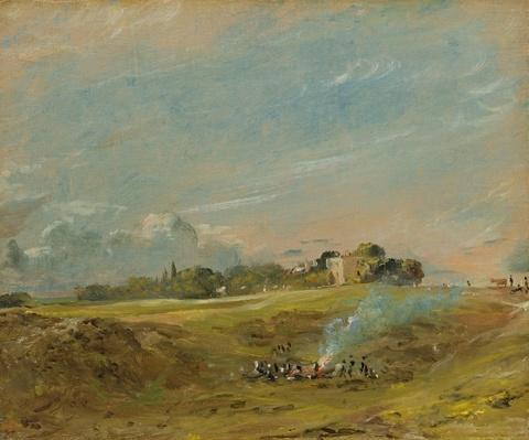A View of Hampstead Heath, with figures round a bonfire