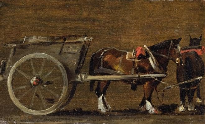 A Farm Cart with two Horses in Harness: A Study for the Cart in 'Stour Valley and Dedham Village, 1814'