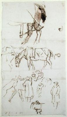 Studies of Horses, Men and Carriages, 1811