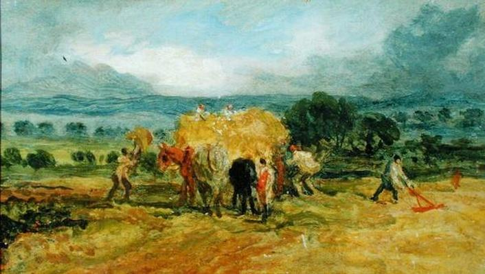A Harvest Scene with Workers loading Hay on to a Farm Wagon