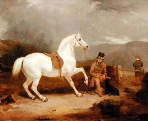 Mr. Johnstone King's Grey Shooting Pony Waiting with a Groom on a Scottish Moor, 1835