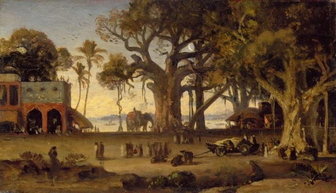 Moonlit Scene of Indian Figures and Elephants among Banyan Trees, Upper India
