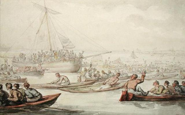 The Annual Sculling Race for Doggett's Coat and Badge, c.1805-10