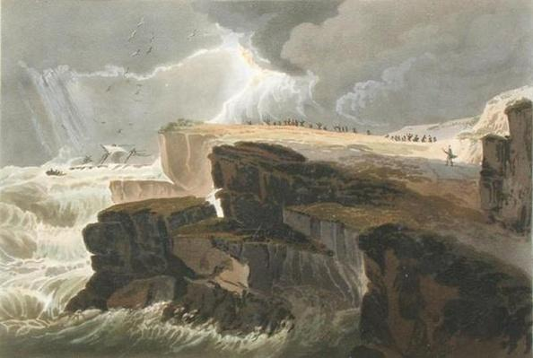 Plate from Book 10 Storm, View on the Coast of Hastings from A Treatise on Landscape Painting engraved by Richard Reeve