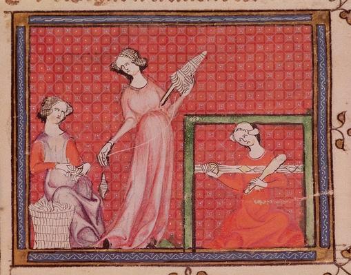 Ms 1044 f.101 Women Spinning Wool, from Ovide Moralise written by Chretien Legouais