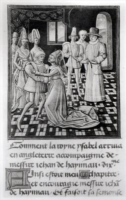 Ms. 1 fol. 6 v Isabella of France, Queen of England, Takes Leave of William I, Count of Hainaut, from Froissart's Chronicle by French School, (15th century)