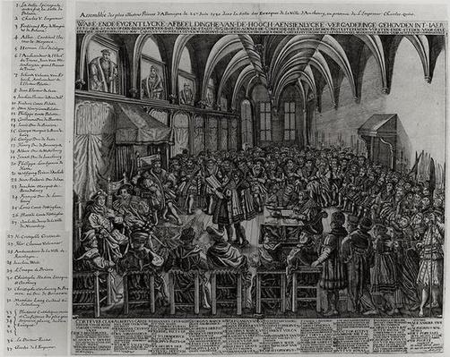 Assembly of the Most Illustrious Princes of Germany, in the Bishop's Hall, Augsbourg, in the Presence of Charles V