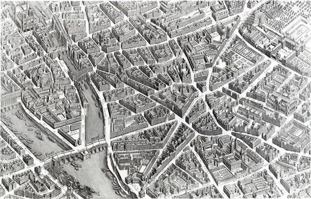 Plan of Paris, known as the 'Plan de Turgot', engraved by Claude Lucas, 1734-39