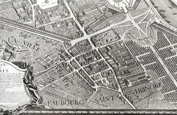 Plan of Paris, known as the 'Plan de Turgot', engraved by Claude Lucas, 1734-39