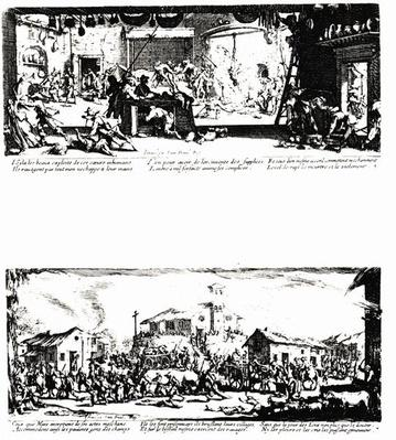 The Pillage of a Farm and The Razing of a Village, plates 5 and 7 from 'The Miseries and Misfortunes of War', engraved by Israel Henriet