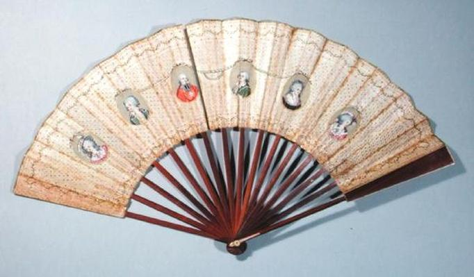 Fan depicting characters involved in the Affaire du Collier, 1786