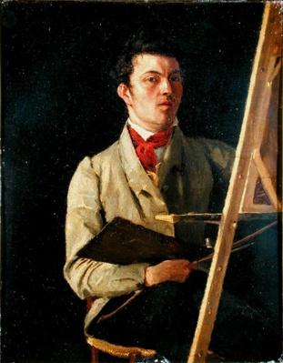 Self Portrait, Sitting next to an Easel, 1825