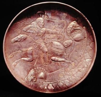 Plate depicting a royal soldier hunting lions, 6th-7th century