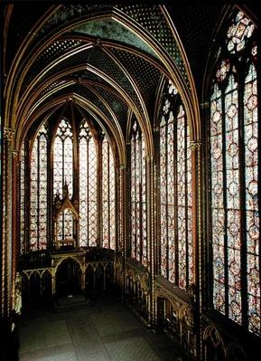 View of the stained glass windows in the upper chapel, 1246-48