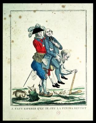 The Game Must End Soon, a Peasant Carrying a Clergyman and a Nobleman, 1789