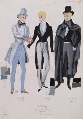 Lensky, costumes from acts I, II and III of the opera 'Eugene Onegin', 1830
