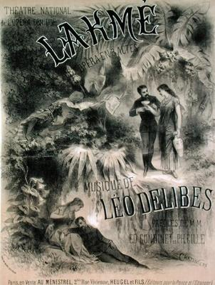 Poster advertising 'Lakme', opera by Leo Delibes