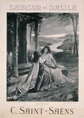 Poster advertising 'Samson and Dalila', opera by Camille Saint Saens