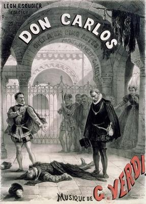 Poster advertising 'Don Carlos', opera by Giuseppe Verdi