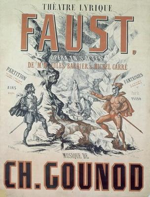 Poster advertising 'Faust', opera by Charles Gounod