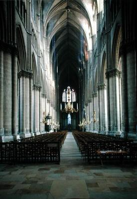 Interior view of the nave looking towards the east end