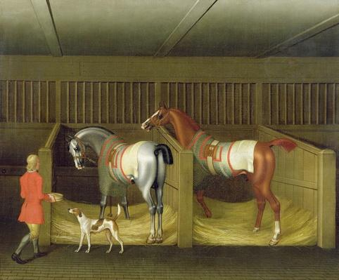 The Stables and Two Famous Running Horses belonging to His Grace, the Duke of Bolton, 1747