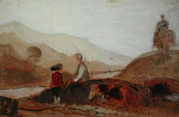 Mountainous Landscape with Figure by a Lake