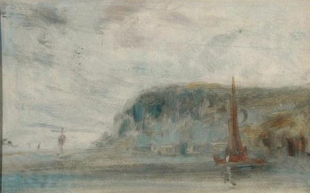 Coast with Cliffs and Boats previously attributed to J.M.W. Turner