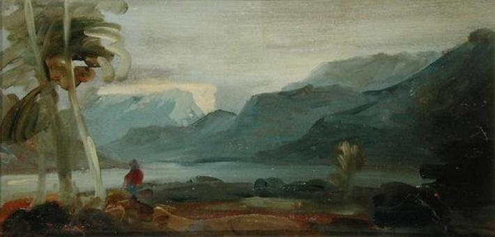 Mountainous Landscape with Figures and Cattle, previously attributed to J.M.W. Turner