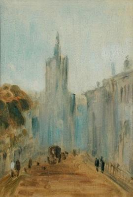 Street with Church and Figures previously attributed to J.M.W. Turner