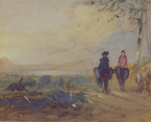 Landscape with Lake and two Figures Riding, previously attributed to J.M.W. Turner